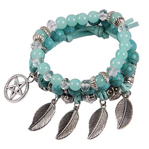 Turquoise Leaf Bracelet - Molyveva Yoga Jewelry Women Girls Bracelets Natural Turquoise Beads Silver Leaf Healing Crystal Bracelets (Pentagram)