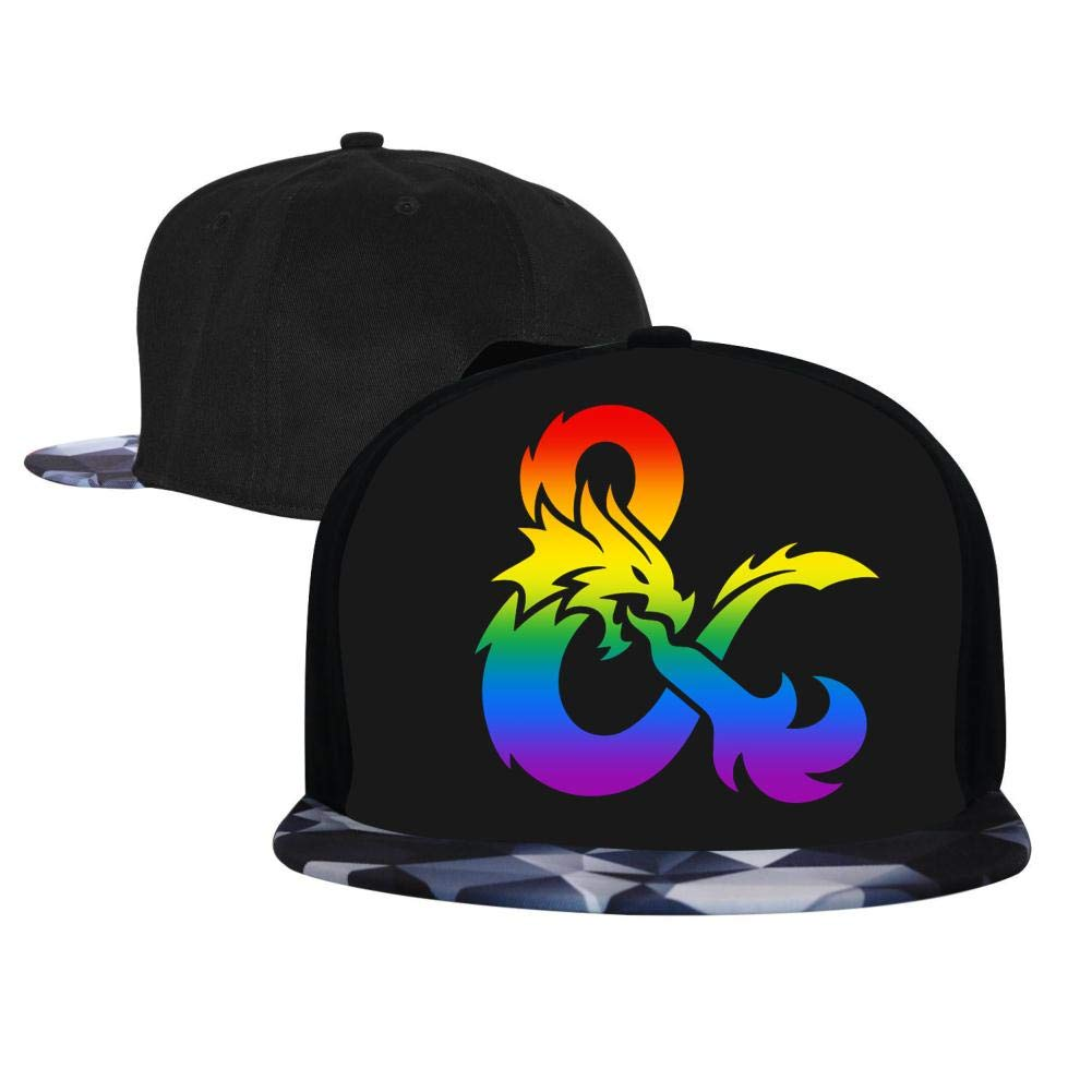 Rainbow Gradient Dungeons and Dragons Mens and Womens Trucker Hats Adjustable Hip Hop Flat-Mouthed Baseball Caps