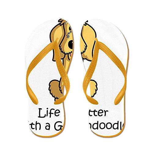 Cafepress Ss_life-is-better-with-a-goldendoodle-c - Flip Flops, Grappige String Sandalen, Strand Sandalen Oranje