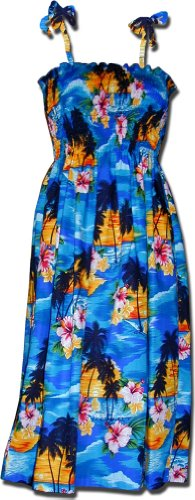 Hawaiian Smocked Dress Blue Waikiki Sunset 3323104 for sale  Delivered anywhere in USA
