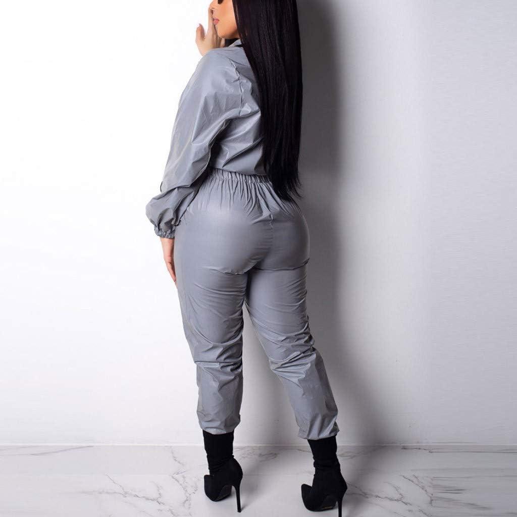 Pantaloni Sportiva Unisex Giacca Riflettente Coppia Giacche Autunno Inverno Honestyi Completi Sportivi Donna Tuta Riflettente per Il Tempo Libero Tute da Ginnastica Felpa Giacca