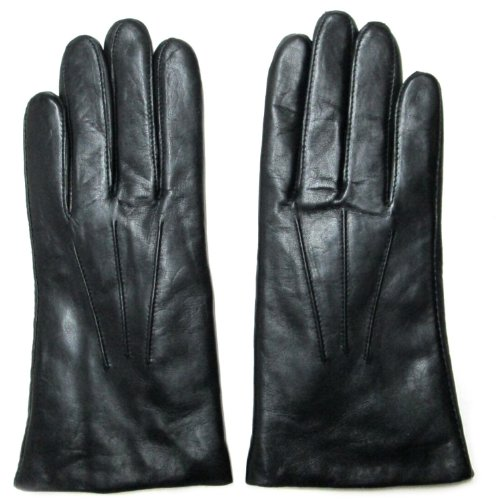 Fownes Women's Rabbit Fur Lined Black Napa Leather Gloves 7/M