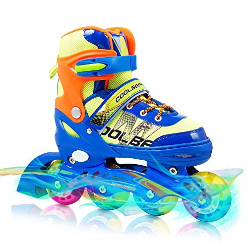 Otw-Cool Adjustable Inline Skates for Kids Boys Rollerblades with All Wheels Light up, Safe and Durable Inline Roller Skates for Boys