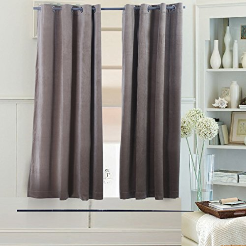 Beryhome Super Soft Velvet Textured Eyelets Room Darkening Curtains/Draperies, Set of Two Panels. Best for Living Room, Bedroom, Home Theater, Hotel Window Decoration. (W52xL45, Light Coffee) Review
