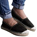 Women's Classic Casual Round Toe Flat Suede Straw Slip-On Rome Style Loafers (Black, US:7.5)