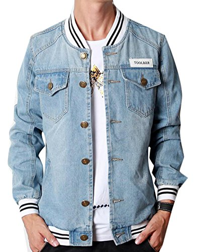 Domple Men's Fashion College School Denim Baseball Varsity Jacket Light Blue US L - Denim Varsity Jacket
