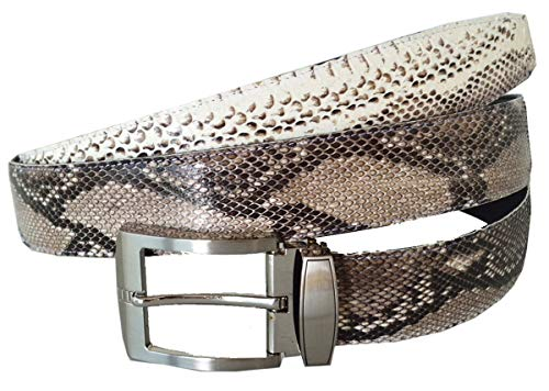 Authentic Snake Skin Men's Genuine Python Leather Pin Belt 33-35 Natural ()