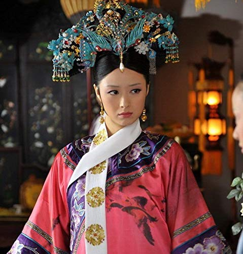 Princess Qing Dynasty Blue Phoenix Hair Headdress Chiense National Forest Legend Crystal Princess Costume Hair Accessories -