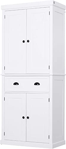 """HOMCOM 72"""" Traditional Freestanding Kitchen Cupboard Pantry Cabinet"""