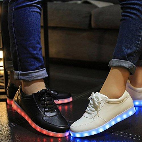 (Presente:pequeña toalla)JUNGLEST® LED Light 7 color Shoes zapatillas para hombre USB carga de techo luces intermitentes de calzado de deportes zapati, Negro, 35 EU