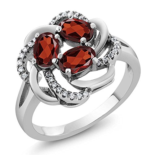 Sterling Silver Garnet Flower Ring (1.87 Ct Oval Red Garnet 925 Sterling Silver Flower Blossom Ring (Available in size 5, 6, 7, 8, 9))