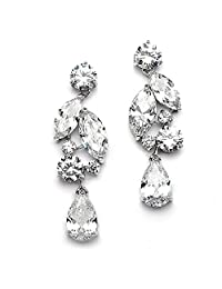 Mariell Bold Statement Cubic Zirconia Mosaic Wedding Earrings with Teardrops for Brides or Bridesmaids