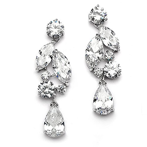 Mariell Dramatic Size Cubic Zirconia Statement Earrings - Glamorous Mosaic Special Occasion Chandeliers (Marquis Shaped Earrings)