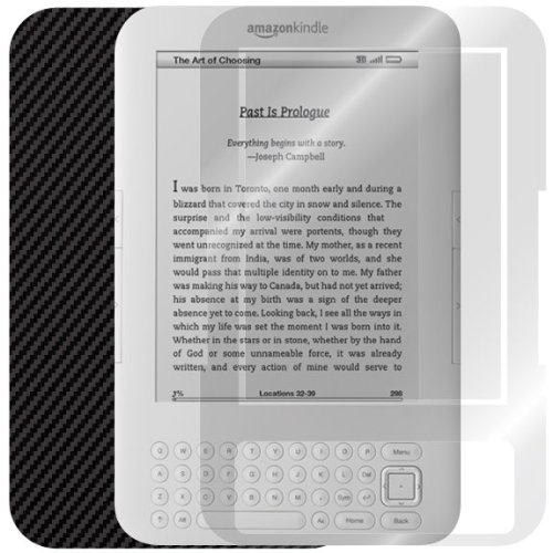 ArmorSuit MilitaryShield - Amazon Kindle Keyboard 3G Black Carbon Fiber Skin Back Protector Film + Anti-Bubble HD Clear Screen Protector For Amazon Kindle Keyboard 3G by ArmorSuit