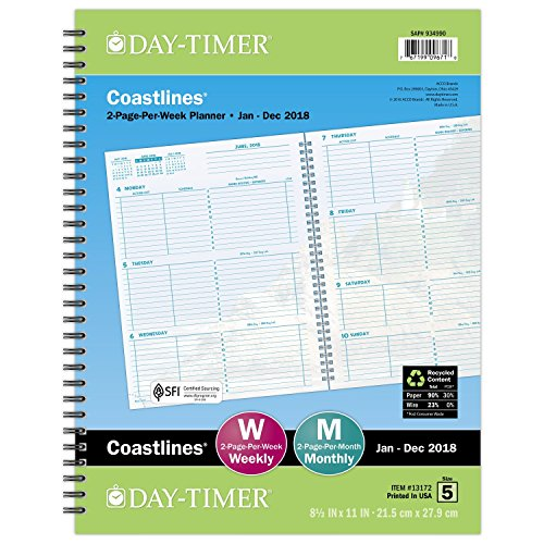 "Day-Timer Refill 2018, Two Page Per Week, January 2018 - December 2018, 8-1-2"" x 11"", Wirebound, Notebook Size, Coastlines (13172-1801)"