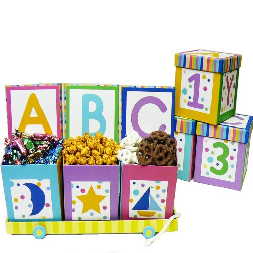 Art of Appreciation Gift Baskets ABC's and 123's Baby Gift Box Snack Set, Nuetral Boy or Girl (Childrens Gift Hampers)