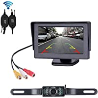 B-Qtech Wireless Backup Camera and Monitor Kit - 4.3 TFT LED Display Screen and License Plate Rear View Camera with 2.4G Wireless Video Transmitter and Receiver