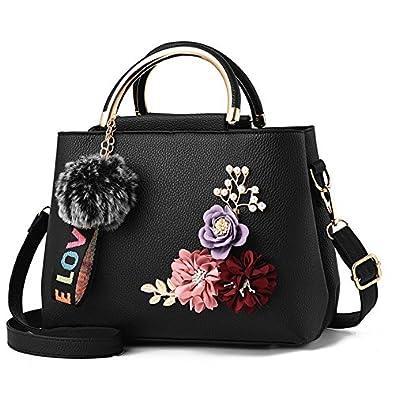 28c88ca7eaf08 SODIAL Flowers Women's Tote Leather Clutch Bag Small Ladies Handbags Women  Messenger Bags Bag black: Amazon.co.uk: Shoes & Bags