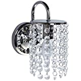 BEIYI Interior Wall Light Fixture One Light Crystal Droplets Square Chrome Base Max 40w Bulb For Bedroom Living Room Decor