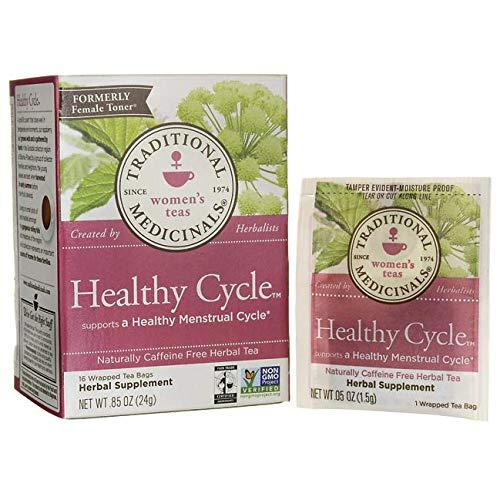 Traditional Medicinals Organic Healthy Cycle Raspberry leaf caffeine Free Herbal Tea 16 Ea 0.85 oz (Medicinal Tea Period)