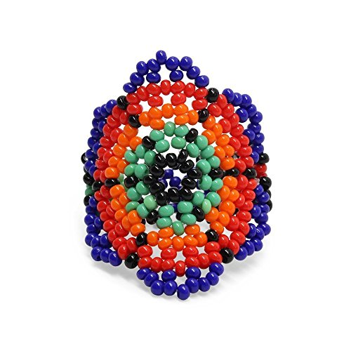 Floral Beaded Rings, Ethnical Charm Beads Handmade Fantasy Jewelry for Women and Girls, Flower
