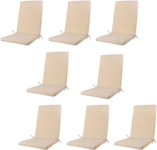 Edenjardi Pack 8 Cojines para sillones de jardín reclinables Color Beige, Tamaño 114x48x5 cm, Repelente al Agua, Desenfundable: Amazon.es: Jardín
