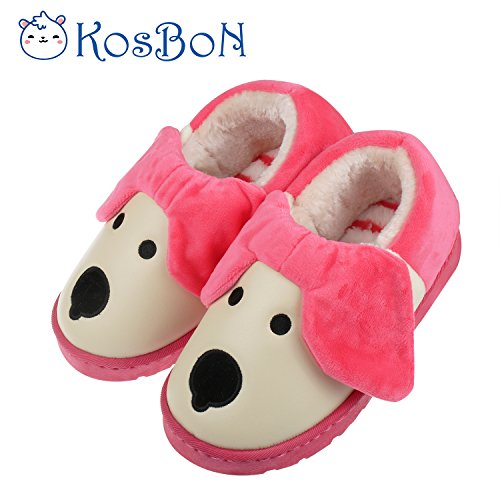 Kosbon 6.7'Baby Soft-sole Anti-slip Winter Thickened Slippers, Cute 3D Dog Shape Kid's House Shoes, Best Present for Children