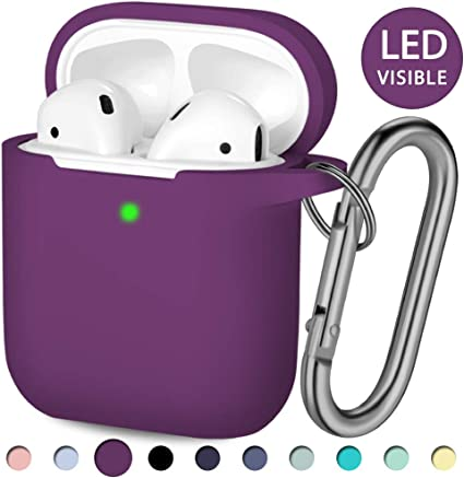 Black//Purple 2 Pack Compatible AirPods Case Cover Silicone Protective Skin for Apple Airpod Case 2/&1