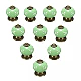 toy oven knobs - CSKB 10 PCS 40mm Green Europe Style Modern Minimalist Handle Polka Dot Ceramic Door Knob Cute Round Handle Pull For Cupboard/Cabinet/Kitchen/Home Decor