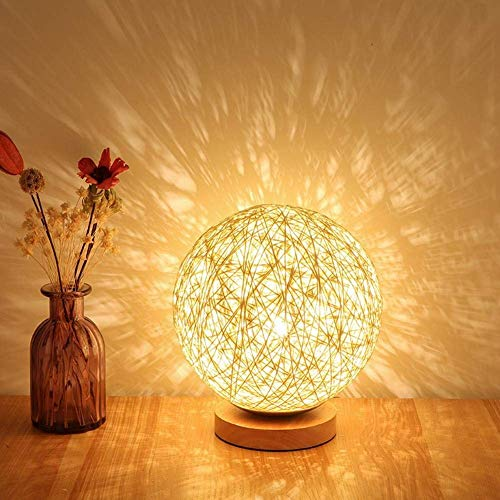 BIBIQ Rattan Ball LED Table Lamp, Hand-Woven Natural Craft Bedside Lighting Decorative Table Lamp - 3W by BIBIQ