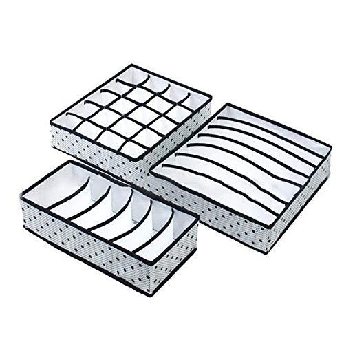 (kongye 3Pcs/Set Foldable Underwear Organizer Bra Tie Scarf Clothes Storage Box Container Wardrobe Closet Organizer Drawer Dividers Case,Black)