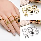 7Pcs/Set Gold Silver Alloy Resin Above Knuckle Boho Midi Finger Ring Jewelry