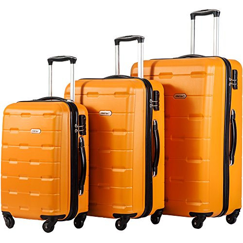 Merax Luggage 20 Inch 24 Inch and 28 Inch 3-Piece Suitcase Spinner Set (Orange.)