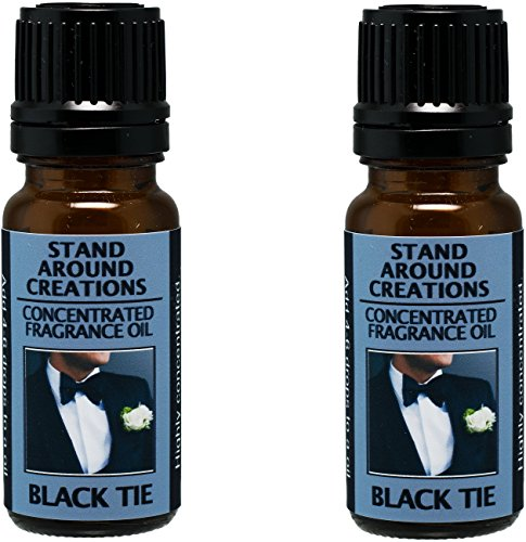 Set of 2 - Concentrated Fragrance Oil - Scent - Black Tie: Sophisticated notes of leather w/ warm woods, patchouli, musk. Infused w/essential oils (.33 fl.oz.) by Stand Around Creations