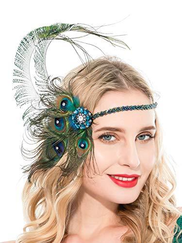 Zivyes 1920s Accessories Peacock Feather Headband Women's Costume Headwear Hat Accessories Flapper Wedding Headpiece]()