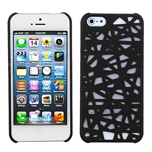 Insten Bird's Nest Rubberized Hard Snap-in Case Cover Compatible with Apple iPhone 5/5S/SE, Black