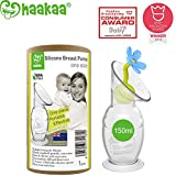Haakaa Breast Pump with Suction Base and Flower Stopper Combo 100% Food Grade Silicone BPA PVC and Phthalate Free (5.4oz/150ml) (Blue)
