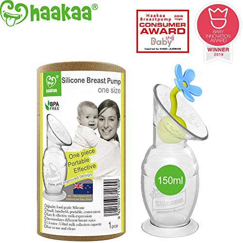 Haakaa Manual Breast Pump Breastfeeding Pump Silicone Pump Milk Saver with Suction Base and Flower Stopper 100% Food Grade Silicone BPA Free (5oz/150ml) (Blue)