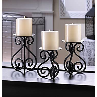 F.A. Decors Black Scroll work table top candle holders set of 3 Mediterranean Tuscan Decor