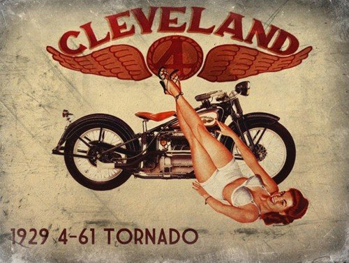 Cleveland 1929 Tornado Metal Sign. Sexy Pinup Girl with Retro Motorcycle