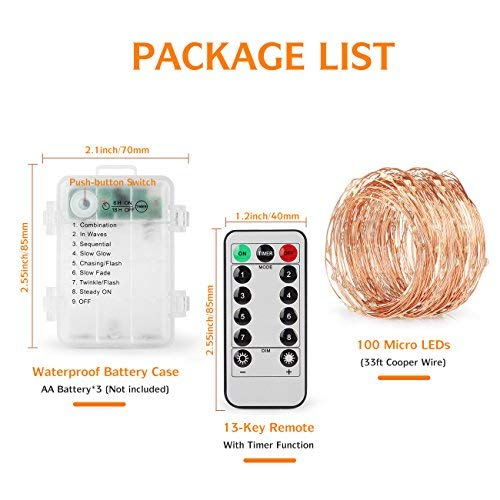 4 Pack 100 LED String Lights Battery Operated Fairy Lights 33ft 2018 Upgraded Waterproof 8 Modes Remote Control Timer Copper Wire Firefly Lights for Patio Bedroom Wedding Christmas Decor Warm White by SHINE HAI (Image #6)