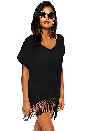 54f134218754e Yiyada Womens Short Kimono Tassel Sleeve Crochet Fringe Beach Kaftan Beachwear  Cover-up Pareos dresses Sarong (black)  Amazon.co.uk  Clothing