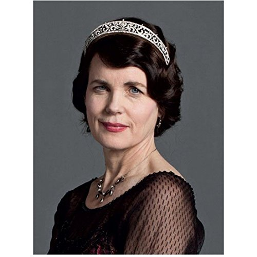 - Downton Abbey (TV Series 2010 - 2015) 8 Inch x 10 Inch Photo Elizabeth McGovern Black Dress Sheer Sleeves Small Tiara Grey Background kn