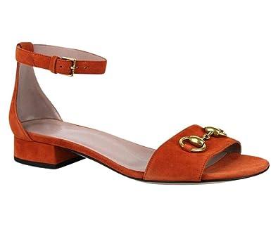 e62be65d35502 Amazon.com: Gucci Women's Rust Suede Horsebit Sandal with Ankle ...