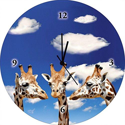 Artland Qualitätsuhren I Funk Wanduhr Designer Uhr Glas Funkuhr Größe: 35 Ø Wildtiere Giraffe Blau F1MR