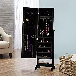 InnerSpace Luxury Products Cheval Free Standing Jewelry Armoire, Black