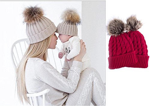 2PCS Parent-child Hat Warmer ,Comwinn Mother & Baby Daughter/Son Winter Warm Knit Hat Family Crochet Fur Wool Beanie Ski Cap (Red) - Mother And Infant Daughter Costumes
