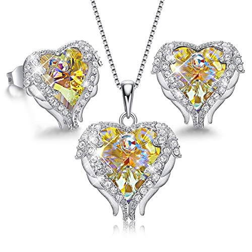 - CDE Sterling Silver Women Jewelry Set Heart Pendant Necklace and Earrings Embellished with Crystals from Swarovski Jewelry for Women