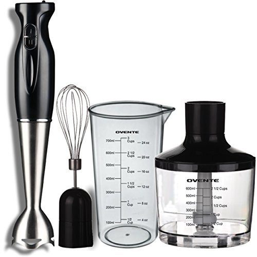Ovente Multi-Purpose Immersion Hand Blender Set - 300-Watts, 2-Speed - Stainless...