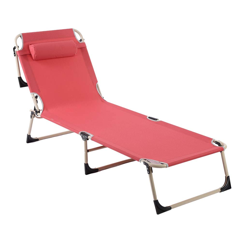 Folding Sun Lounger Recliner Chair Portable Reclining Outdoor Garden Seat Trail